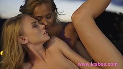 Lesbea Outdoor sunset threesome Veronica Leal Ginebra Belluc