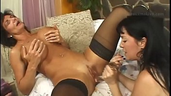 Lesbea Teen BFF try on stockings before naughty sex on bed