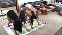 Hot Lesbain  Milf Plays Naked Twister with 3  teens