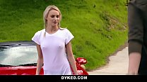 Dyked - Straight Teen (Emma Hix) Dominated By Hot Milf (Amber Chase) With Strapon