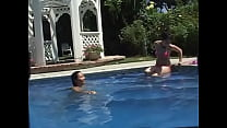 Young lesbians lick pussies in swim pool